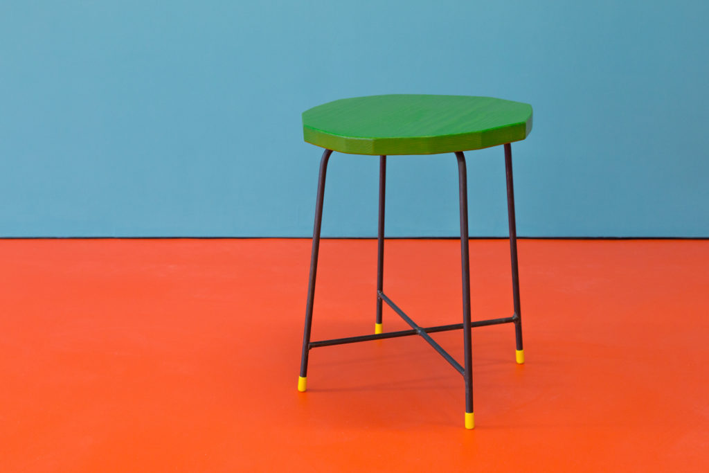 Katie Schwab, Ten stools made with Simon (detail), Douglas fir, steel, wood stain, PVC, 2016. Courtesy the artist. Commissioned by Collective, with support from Creative Scotland. Photograph: Tom Nolan.